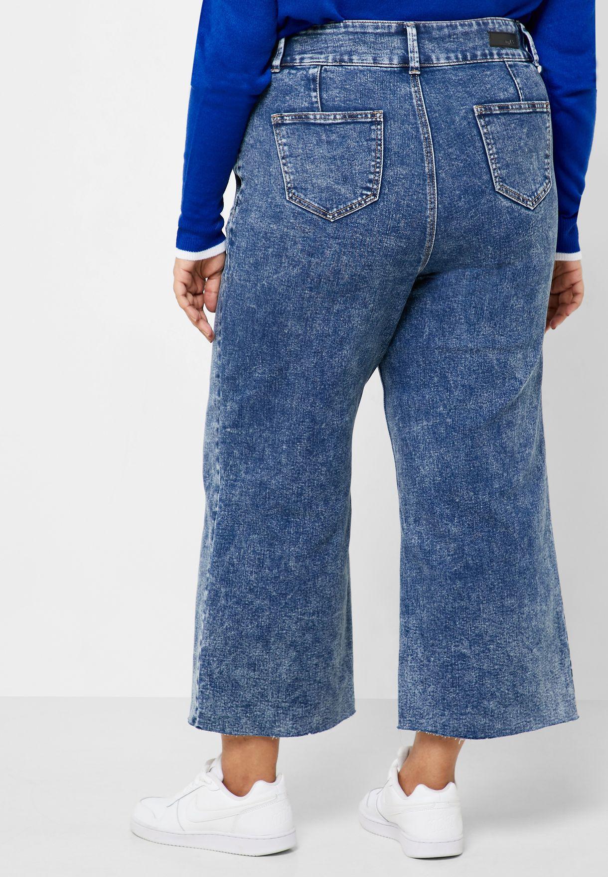 جينز بخصر عالي و ارجل واسعة