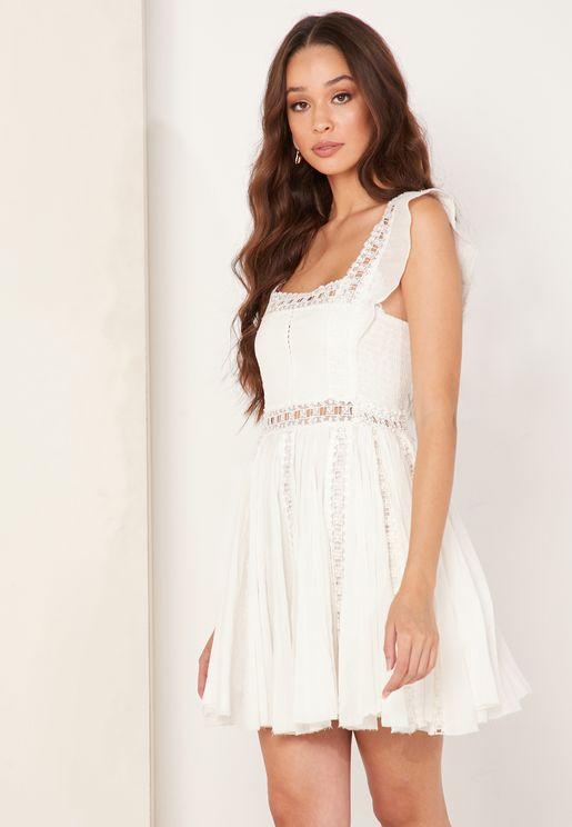 Verona Square Neck Broderie Dress
