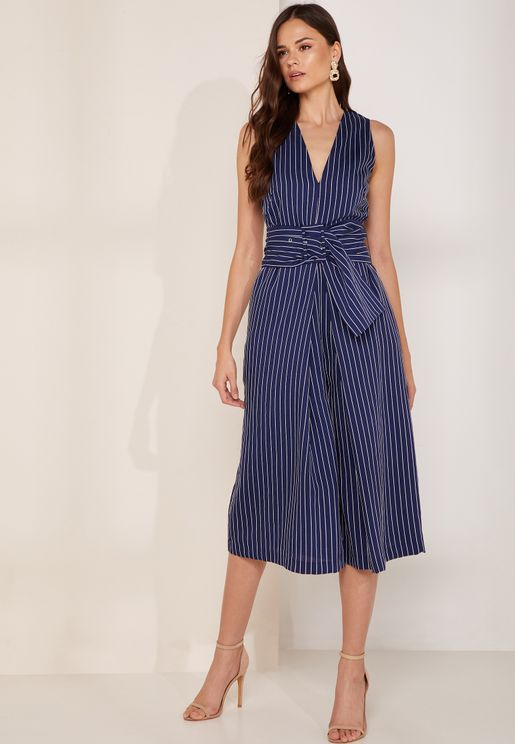 Shadow Striped Culotte Jumpsuit
