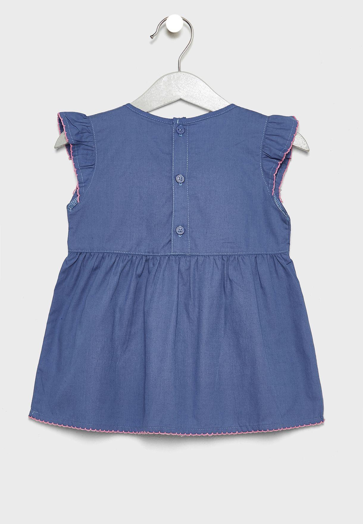 Infant Embroidered Dress + Leggings Set