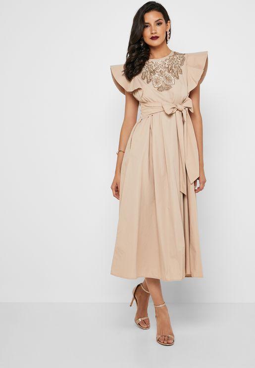 Bow Detail Ruffle Sleeve Dress