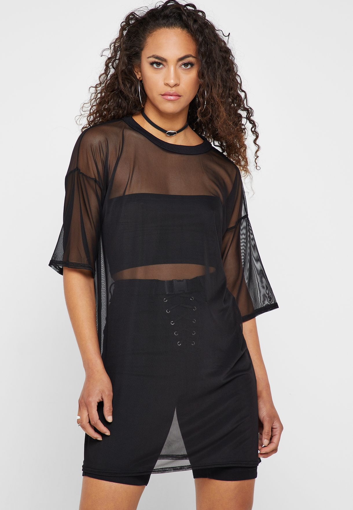 348971cb413 Shop Missguided black Oversize Mesh T-Shirt Dress DD917704 for Women ...
