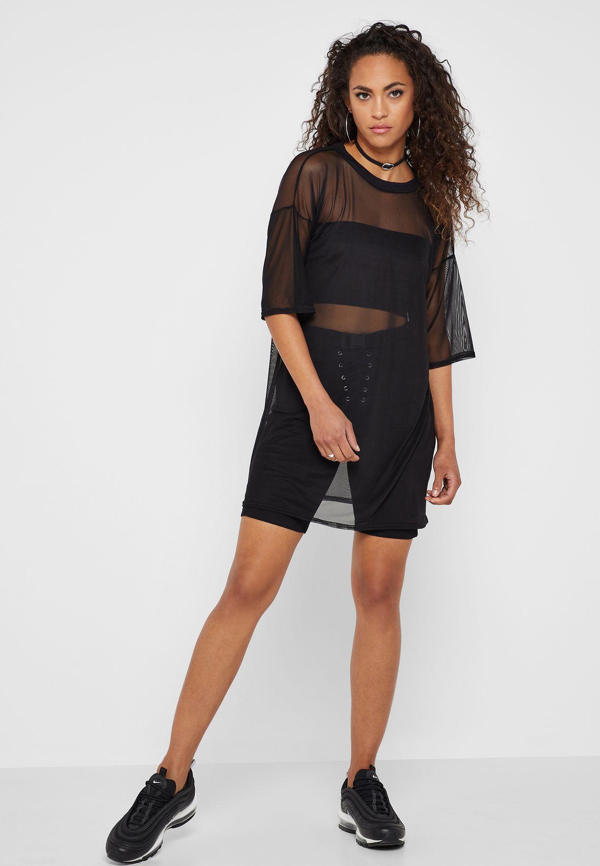 cf0f5257e Shop Missguided black Oversize Mesh T-Shirt Dress DD917704 for Women ...