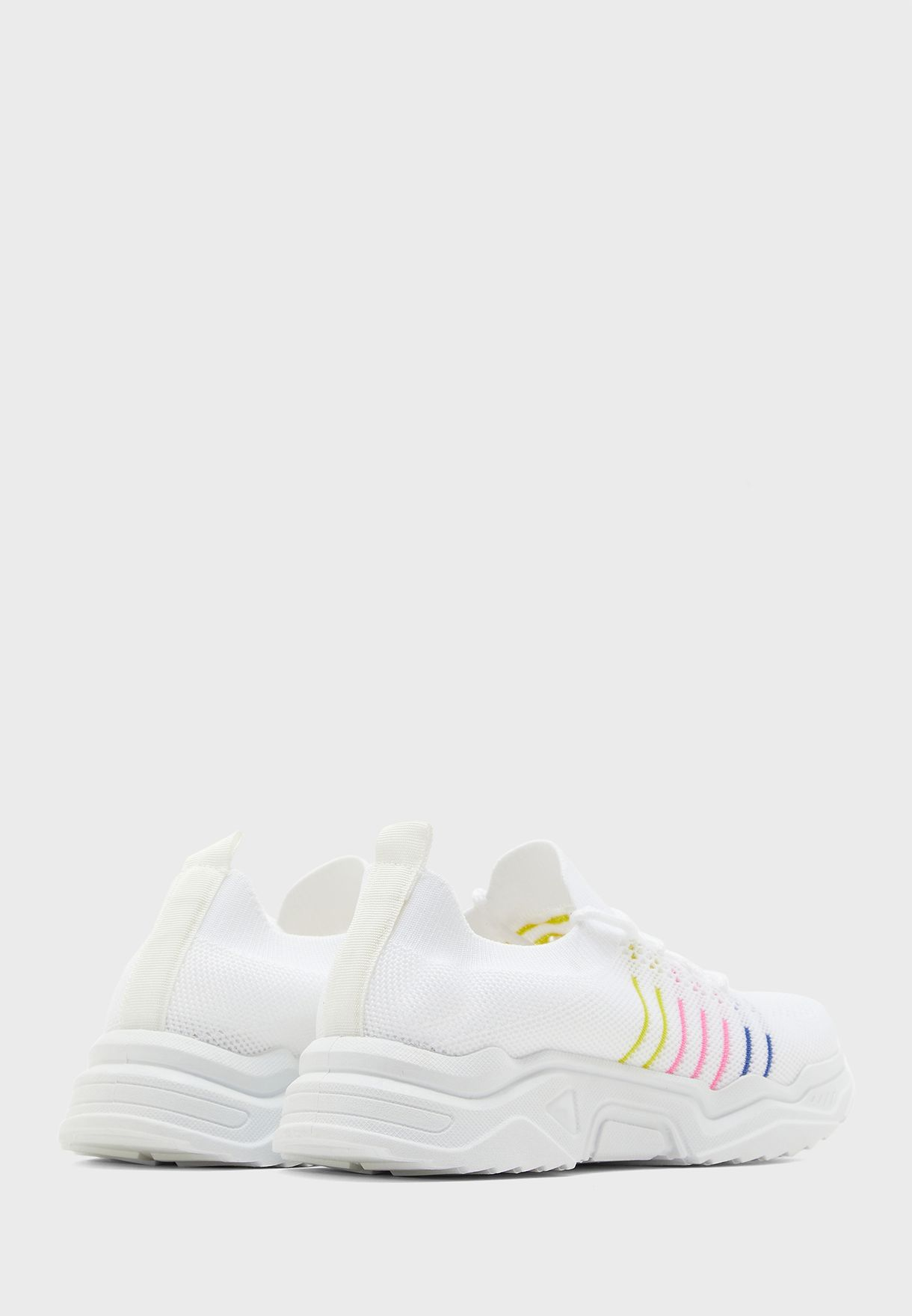 Rainbow Stripe Knit Sneakers