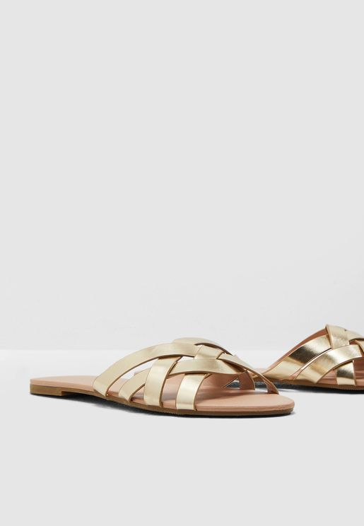 Cross Strap Flat Sandal - Gold