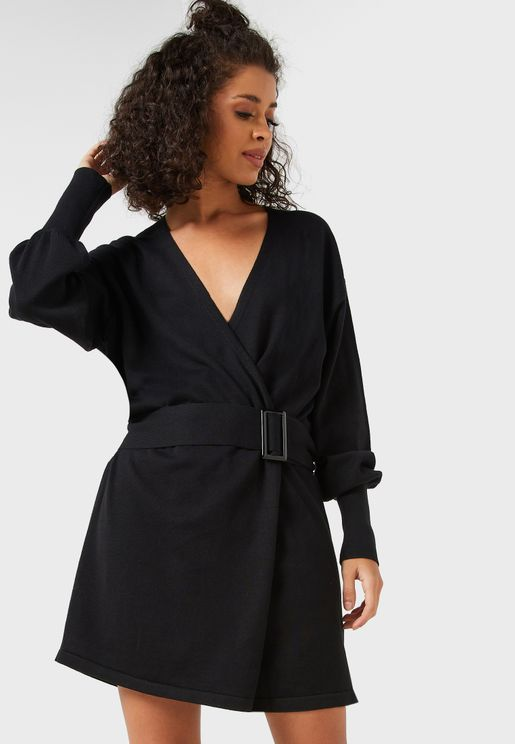 Belted Buckle Wrap Dress