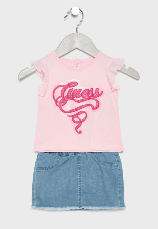 Infant T-Shirt, Skirt + Knicker Set