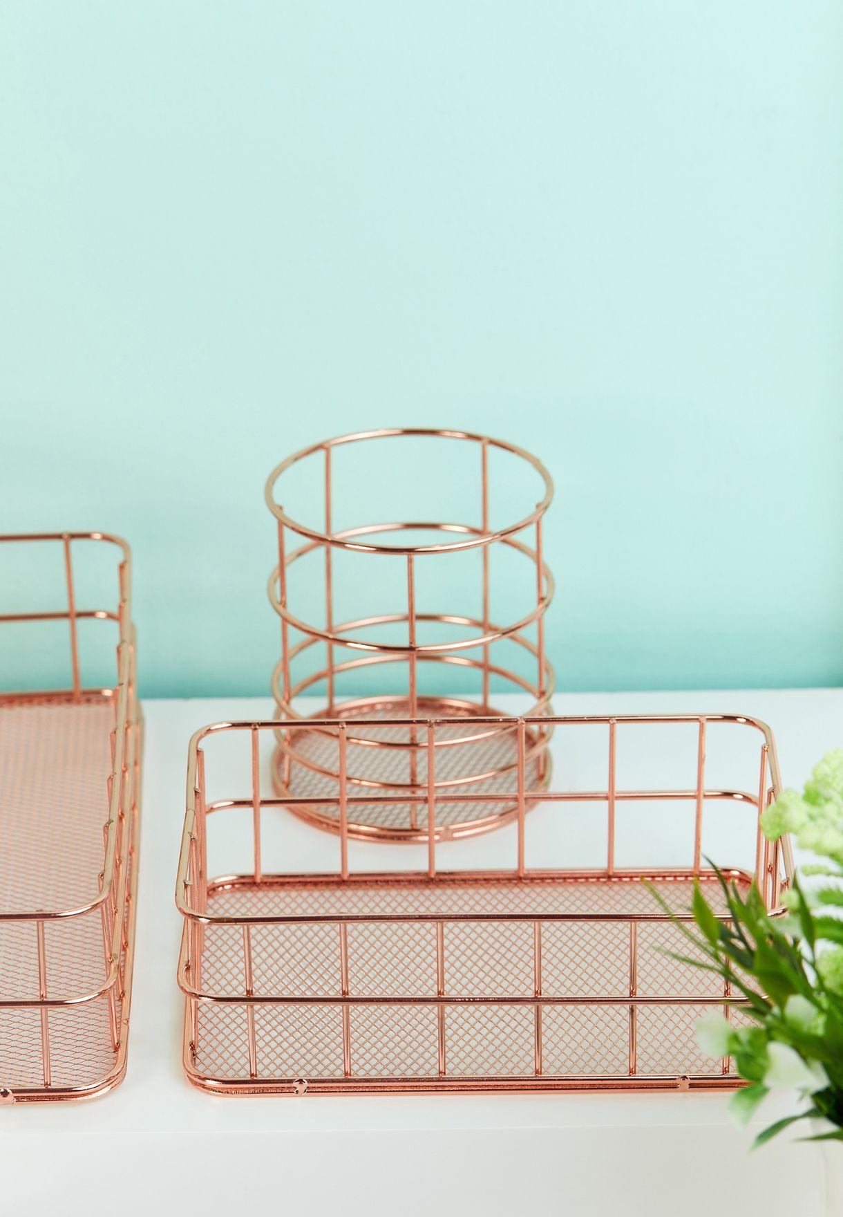 Rose Gold Wire Organiser Set