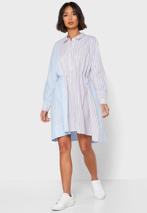 Salma Oversized Striped Shirt Dress