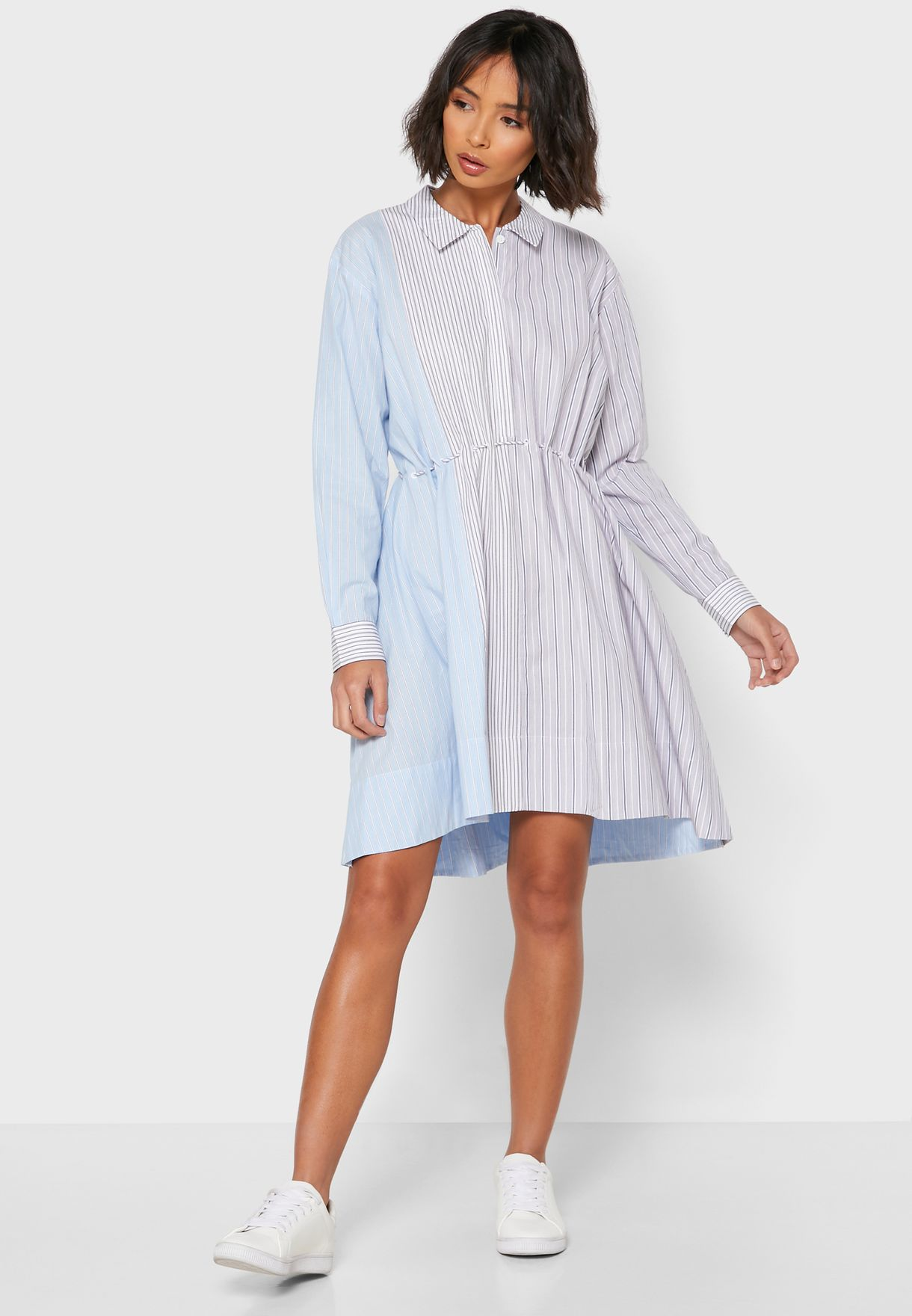 Salma Oversized Striped Shirt Dress