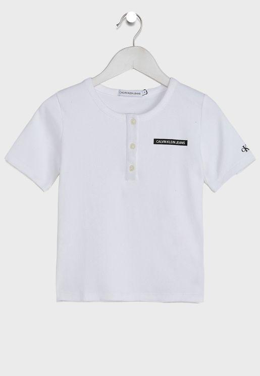 Kids Logo Button T-Shirt