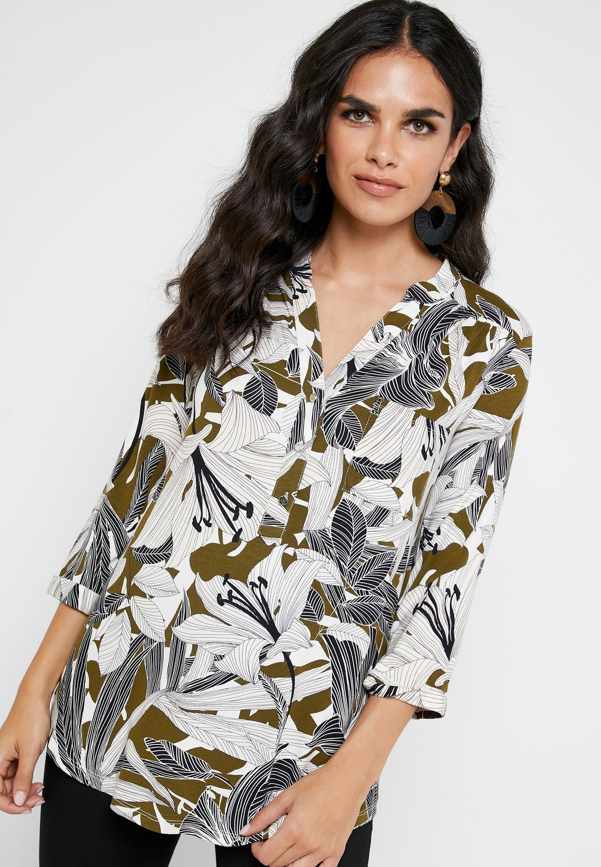 Leaf Print Placket Shirt