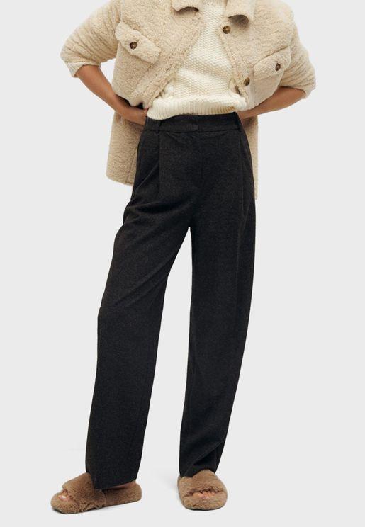 Textured Wide Leg Pants