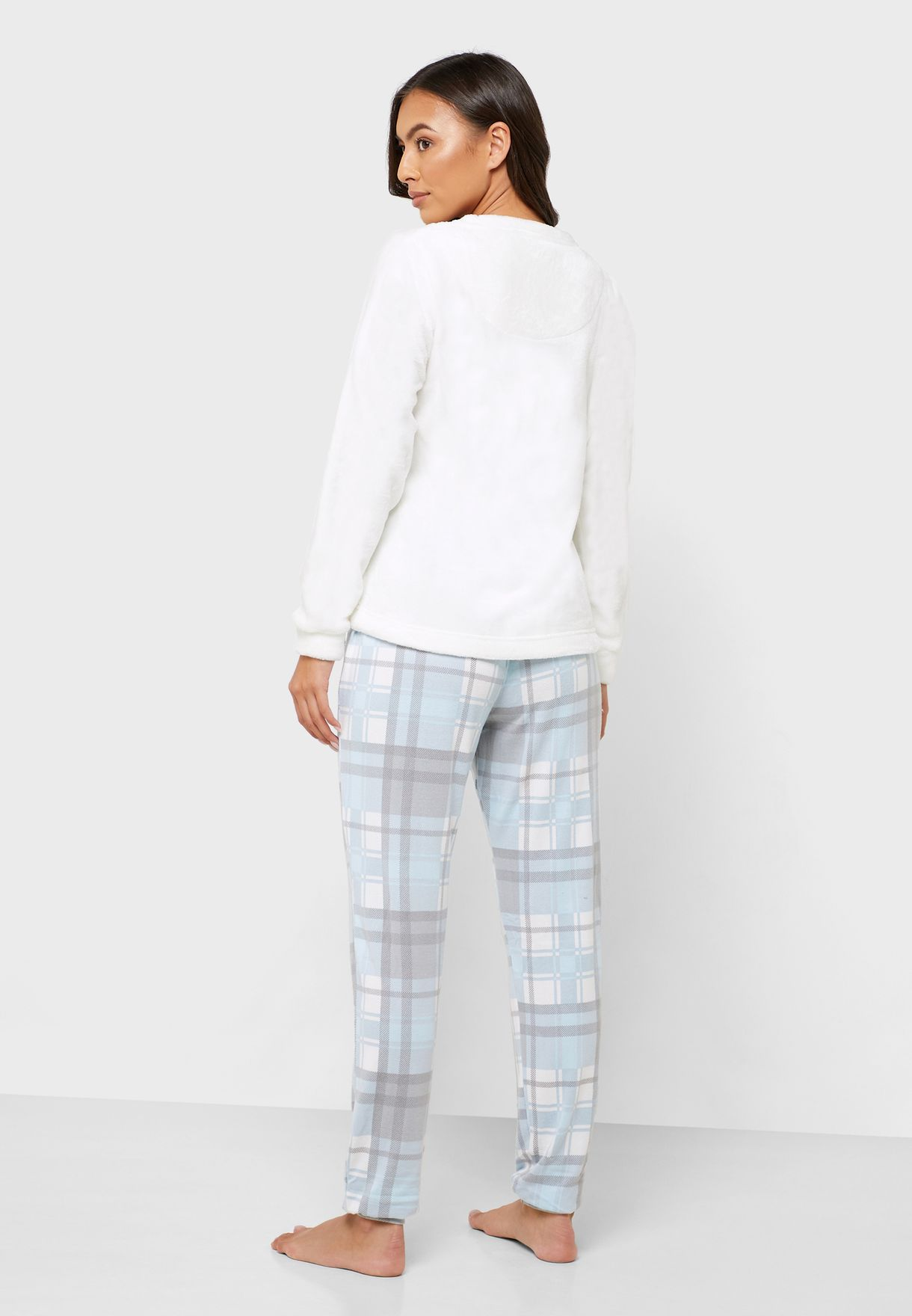 Slogan T-Shirt & Checked Pyjama Set
