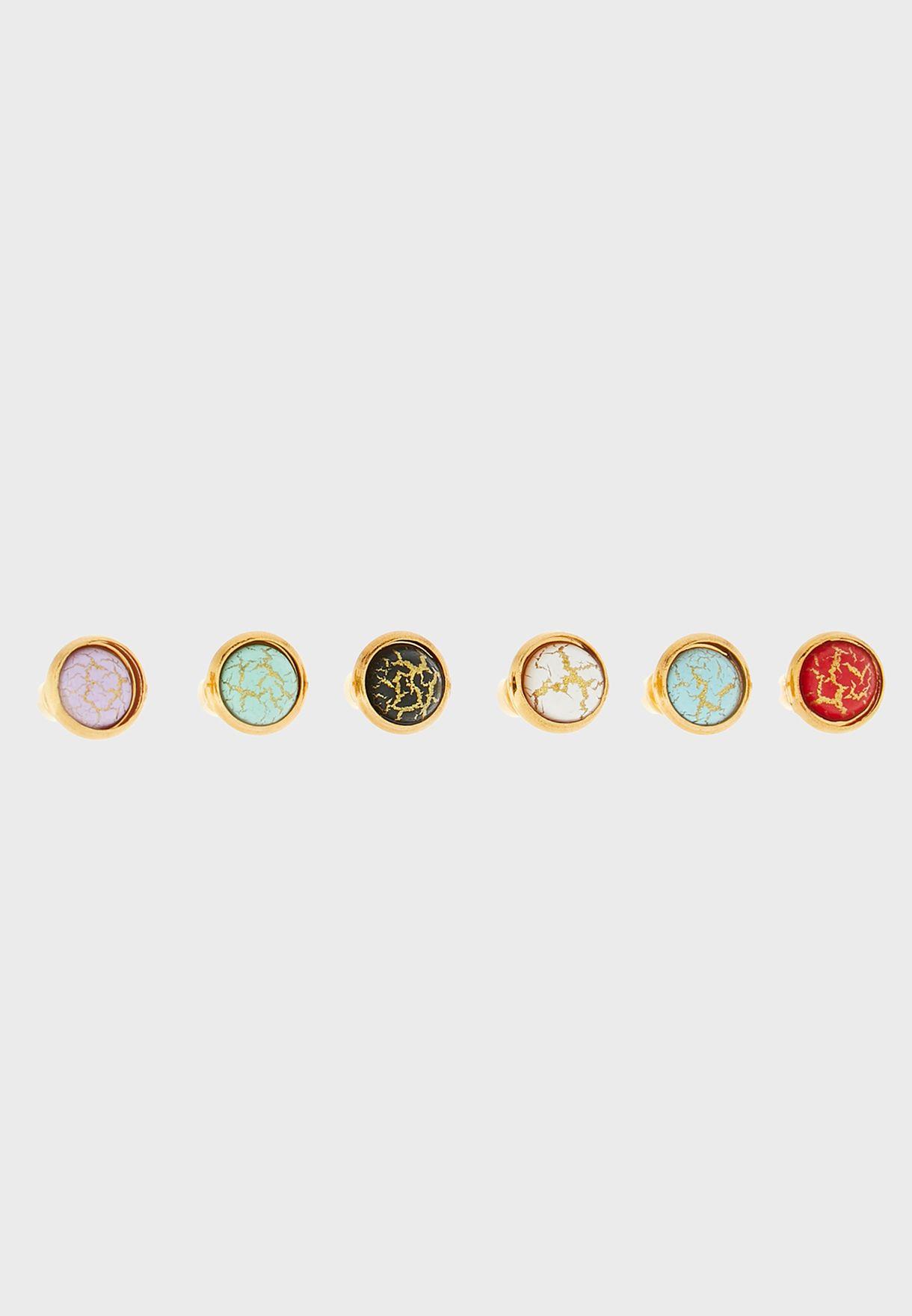 Pack of 6 Marble Stud Earrings