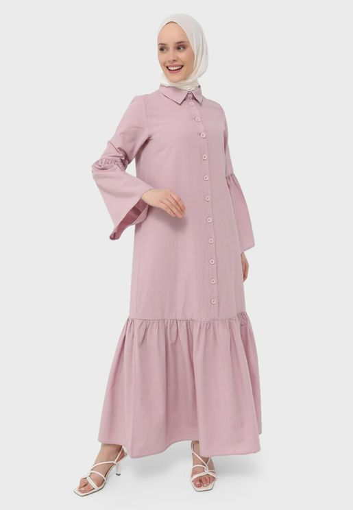 Button Detail Pleated Dress