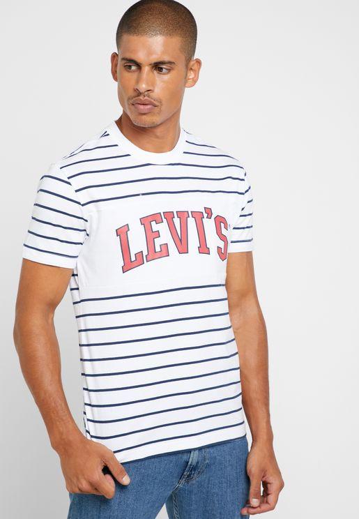 Logo  Striped Crew Neck T-Shirt