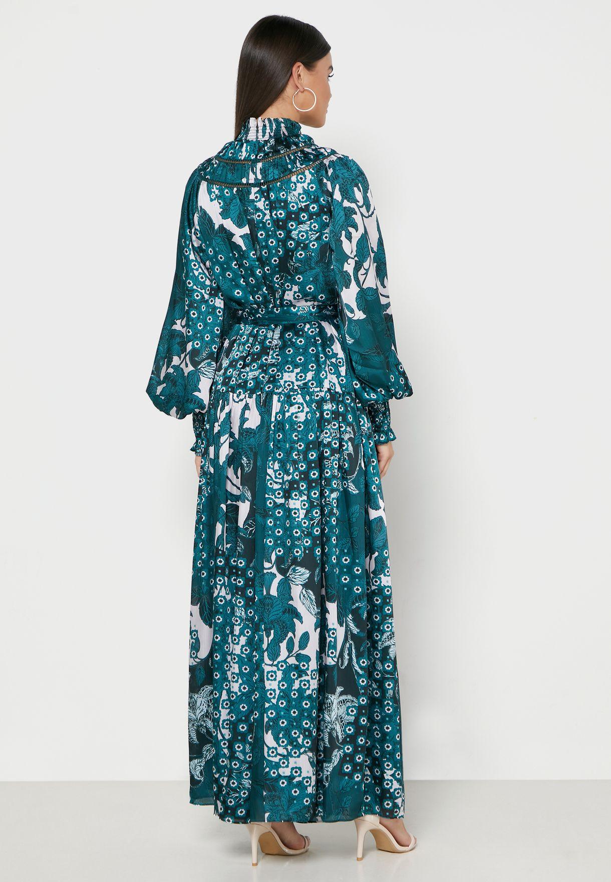 Anafia High Neck Printed Dress