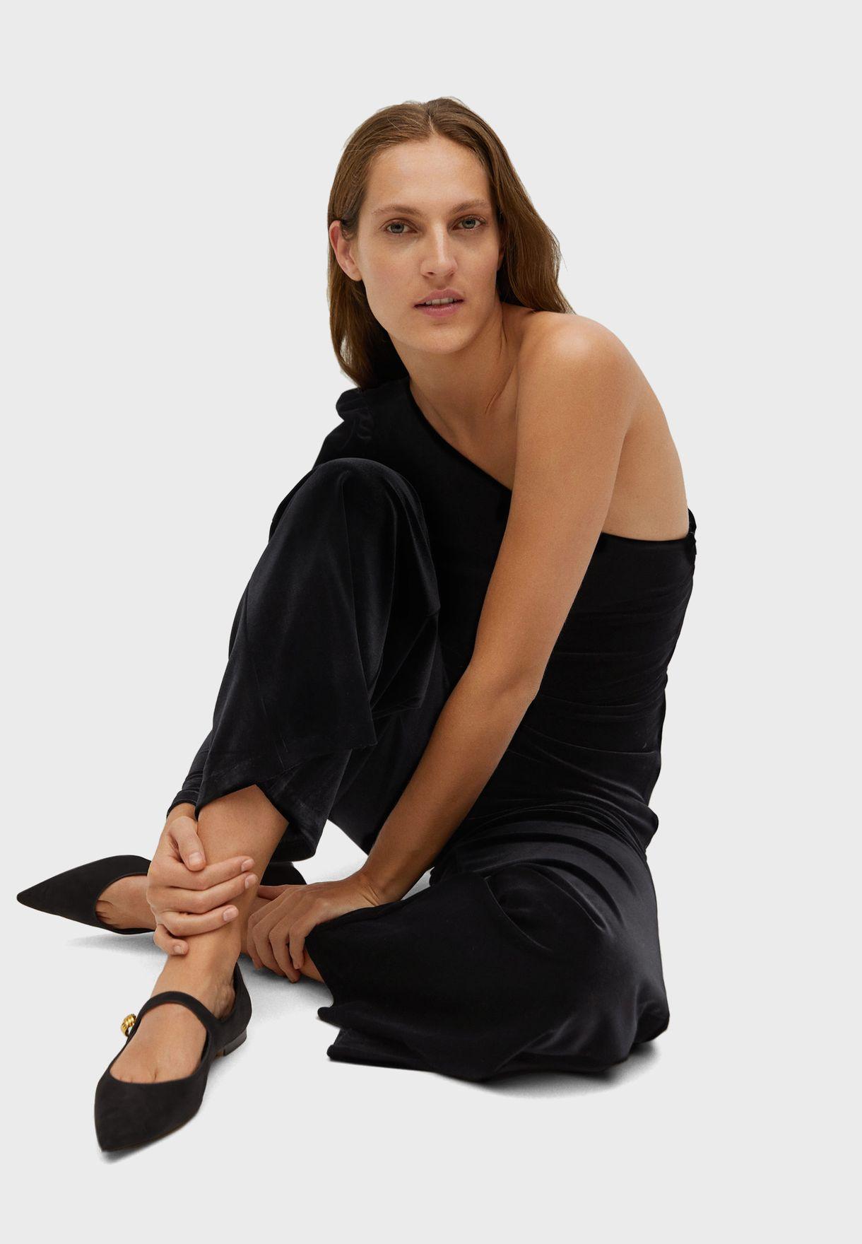 One Shoulder Velvet Jumpsuit