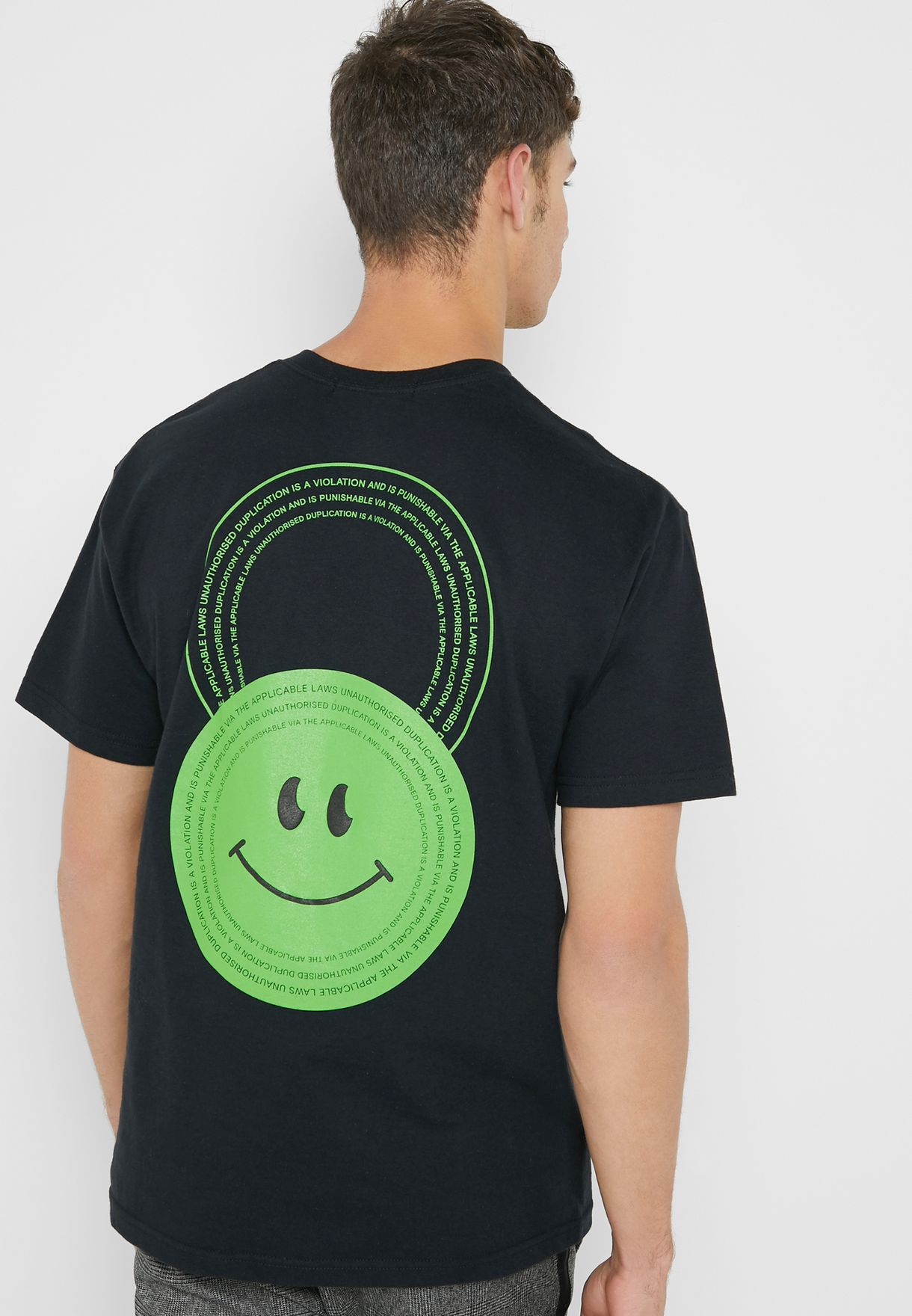 Smiley Print Back Crew Neck T-Shirt