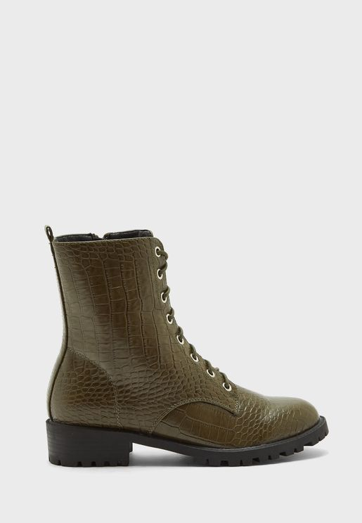 Mixed Croc Lace Up Military Boot