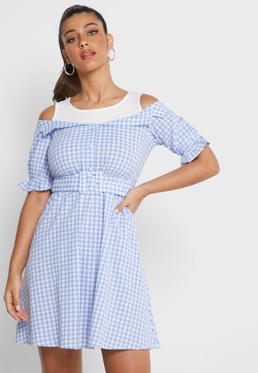 فستان 2 في 1باربطة خصر