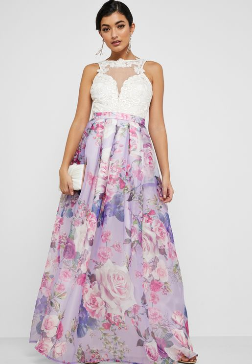 Lace Mesh Floral Print Dress