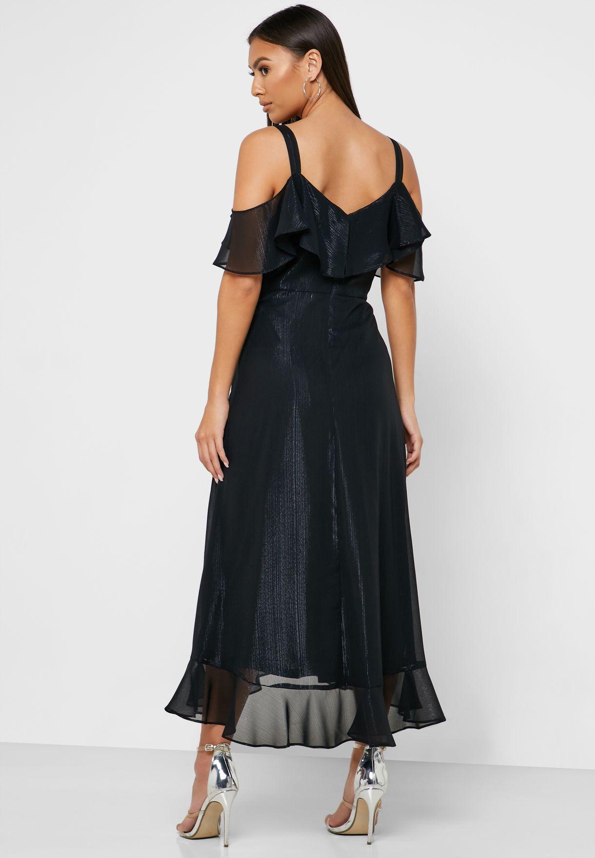Asymmetric Ruffle Detail Printed Dress