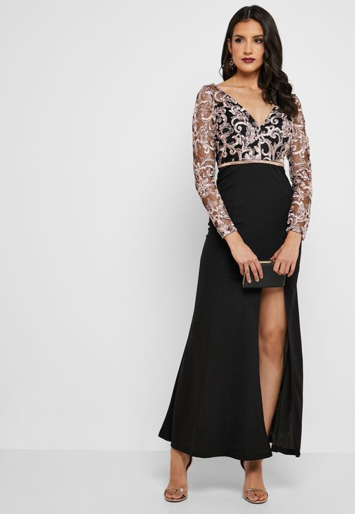 Lace Mesh Front Slit Dress
