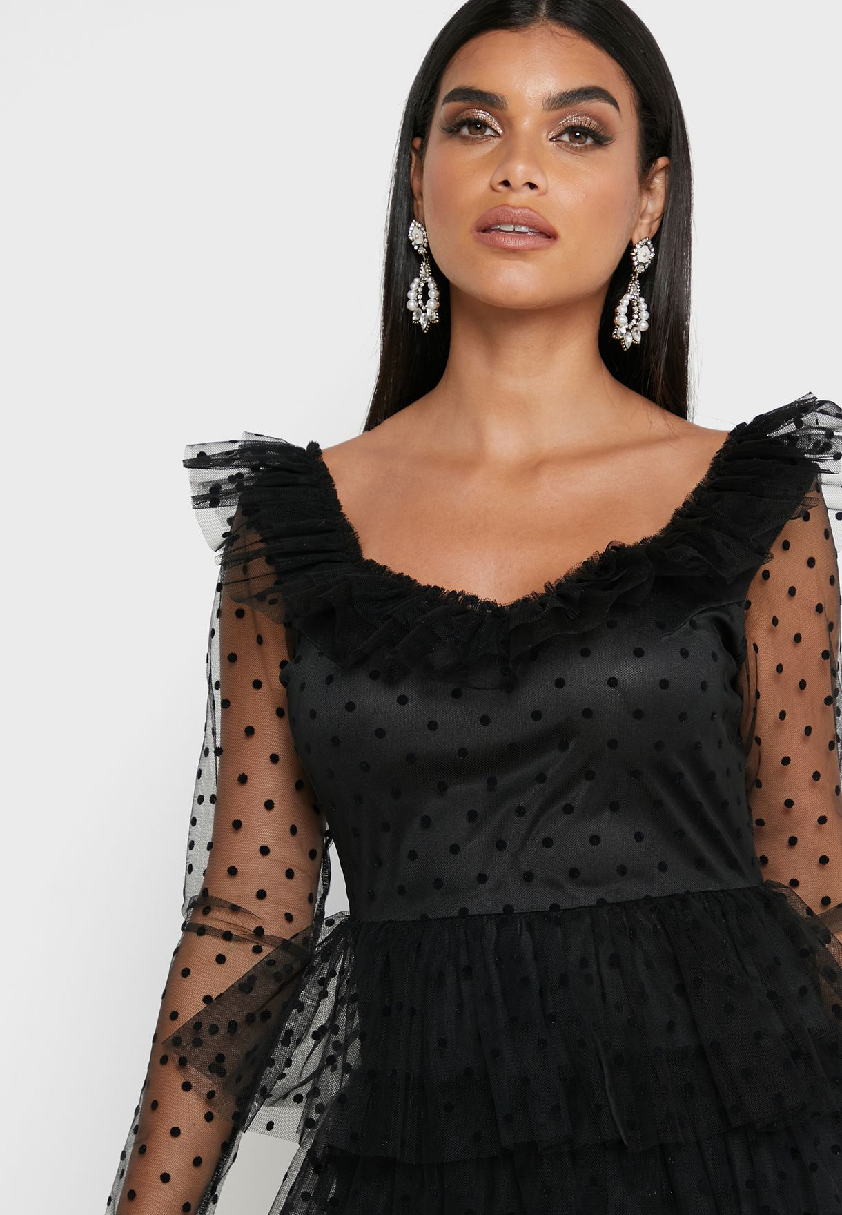 Tiered Lace Mesh Maxi Dress