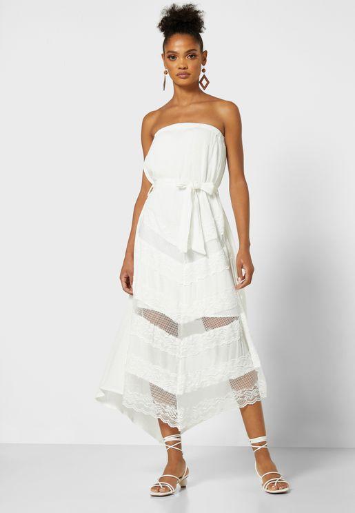 Lace Insert Bandeau Maxi Dress