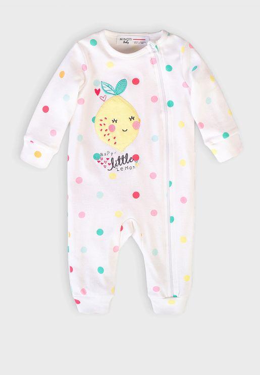 Infant Dot Print Zip Closure Romper
