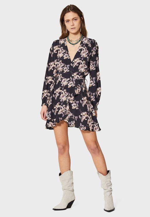 Ruffle Hem Printed Wrap Dress