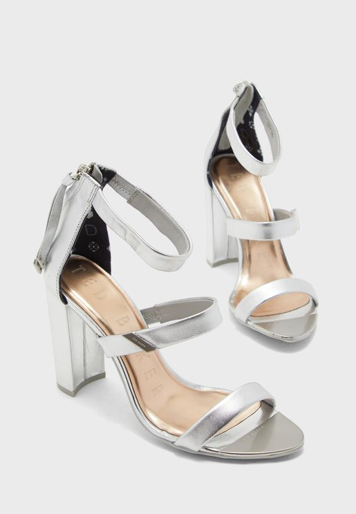 Alinrm Triple Strap High Heel Sandal - Silver