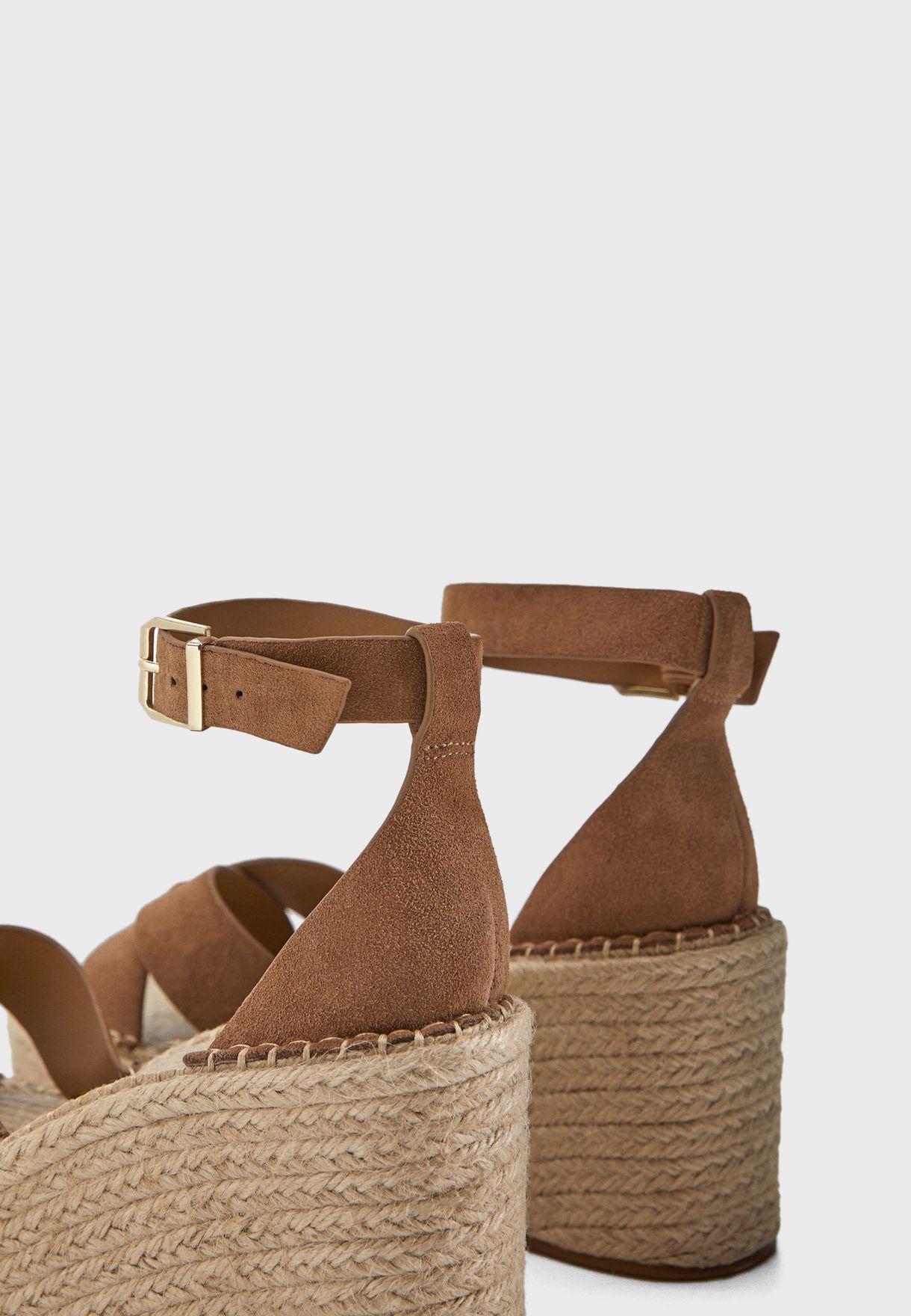 Ankle Strap High Heel Wedge Sandal