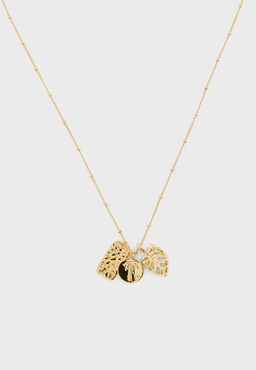 Tropical Palms Cluster Necklace