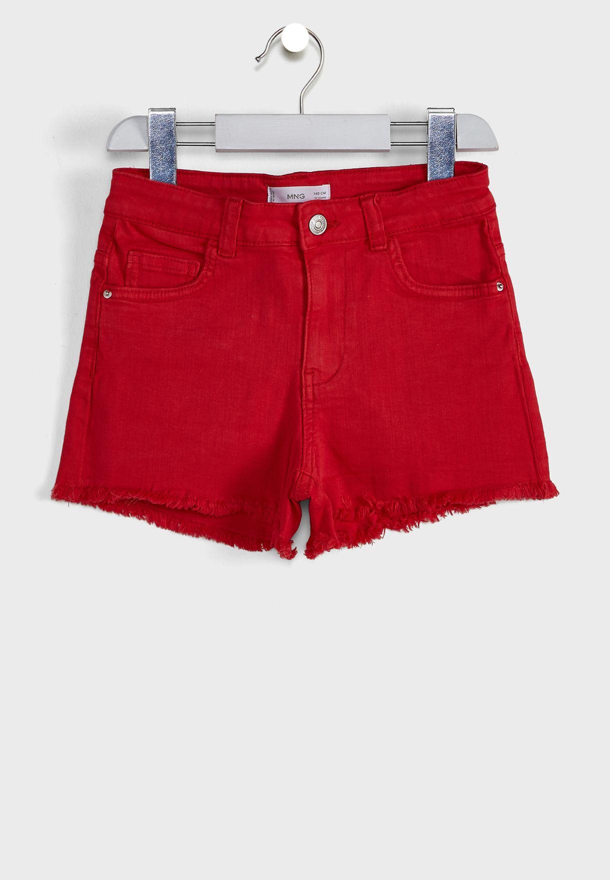 Kids Frayed Hem Denim Shorts