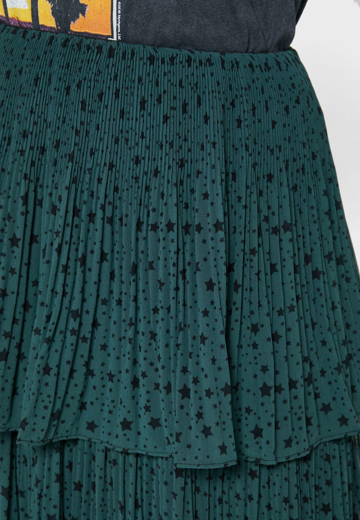 تنورة مطبعة بخصر مطاطي