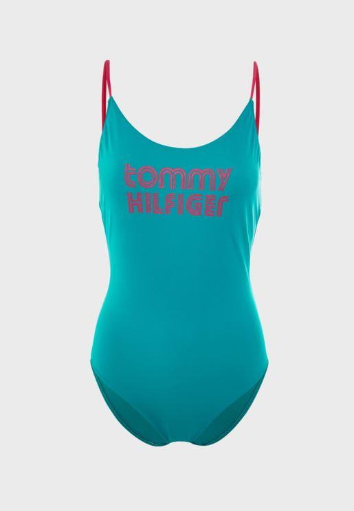High Leg Contrast Trim Logo Swimsuit