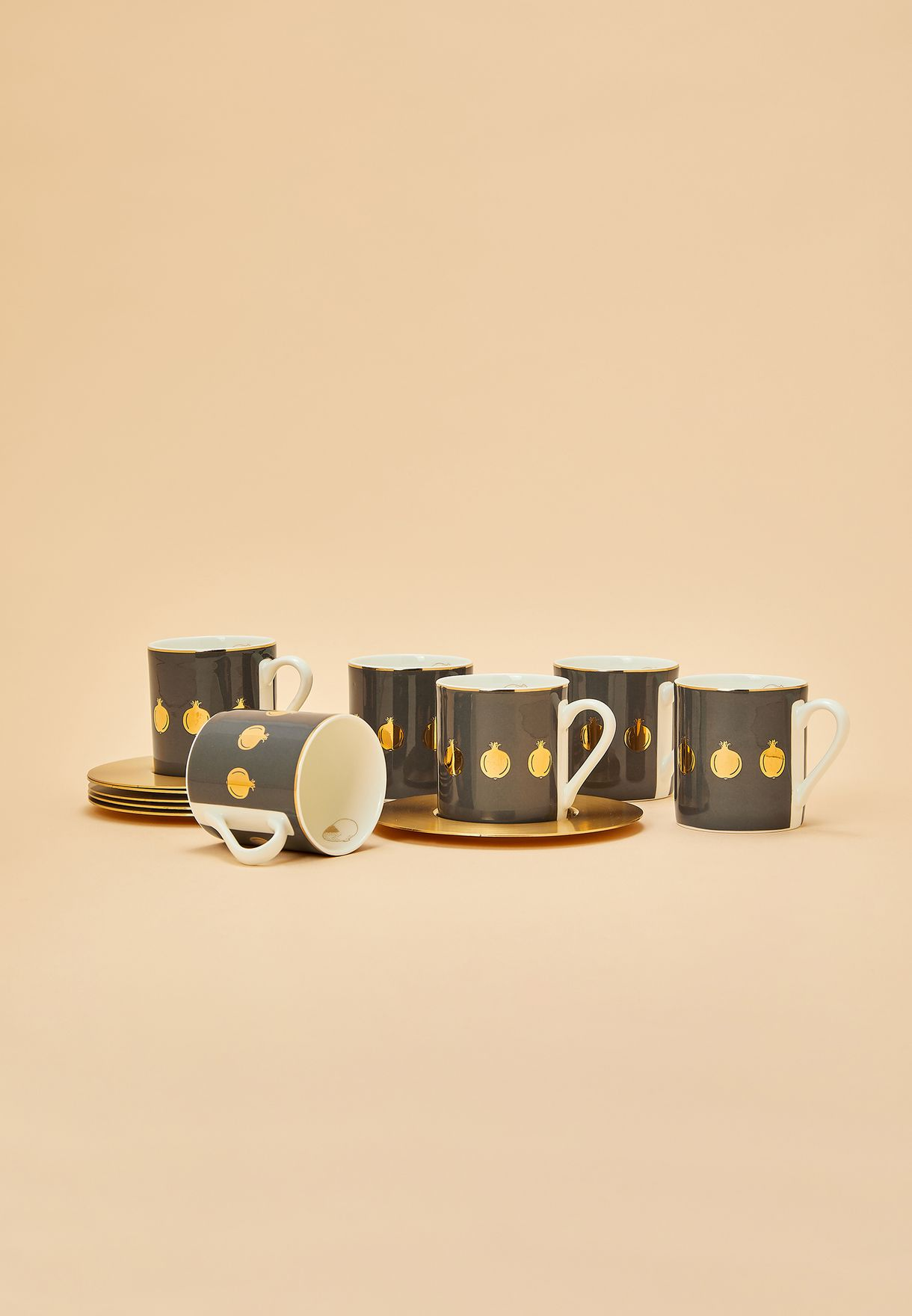 Set of 6 Espresso Cup With Matte Brass Saucer - Po