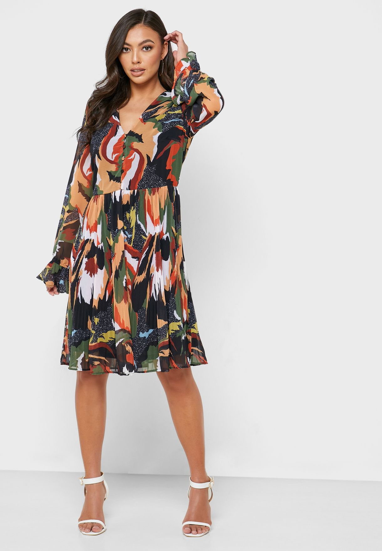 Button Detail Printed Dress