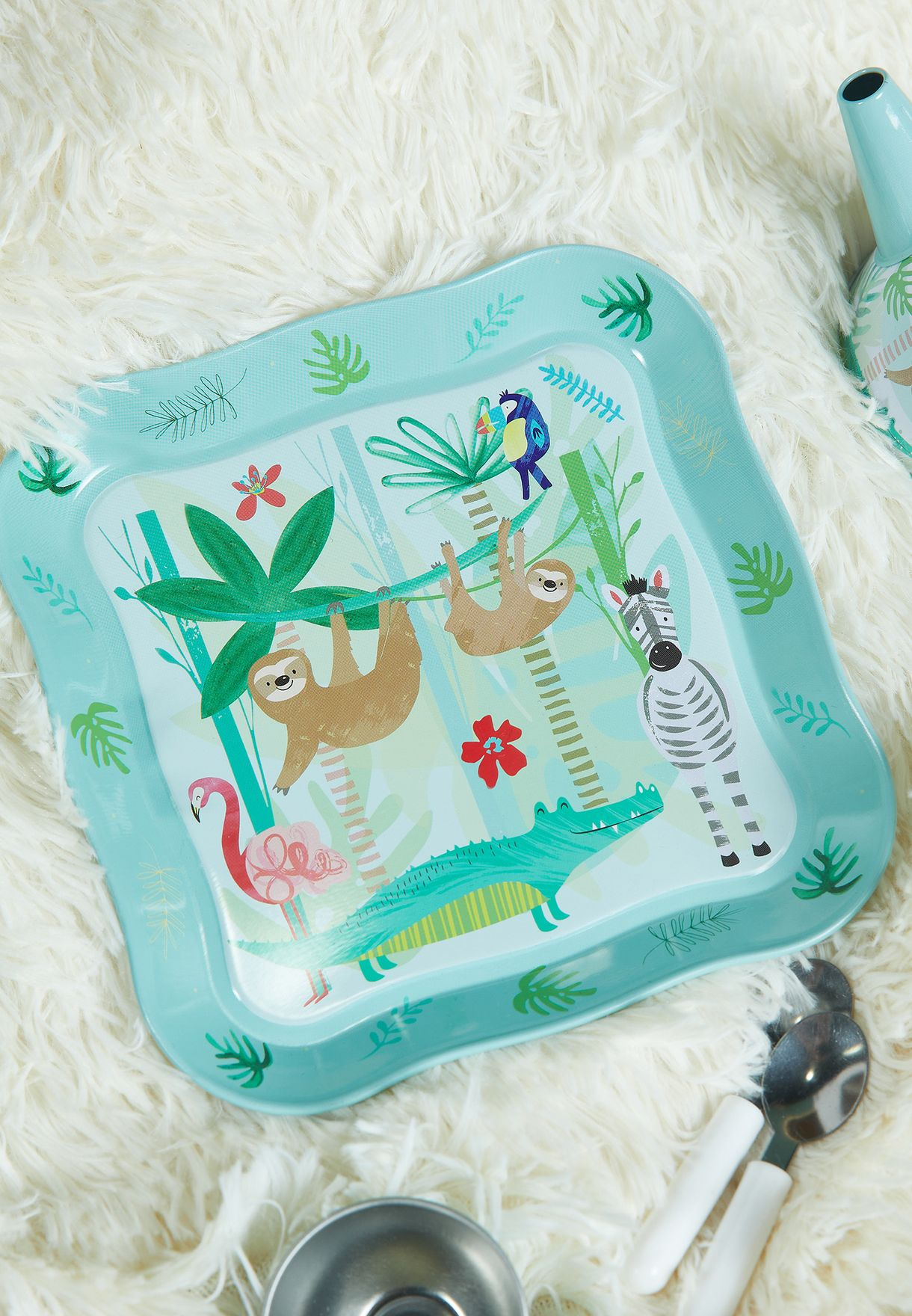 Jungle Tin Tea Set In House Case