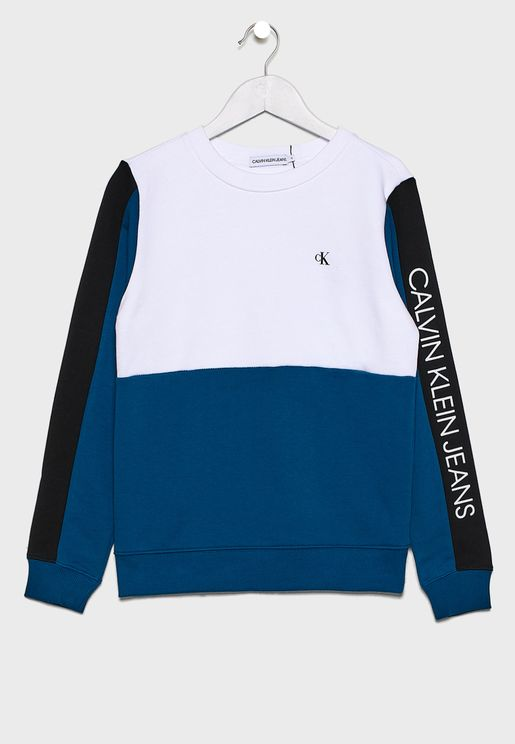 Kids Color Block Logo Sweatshirt