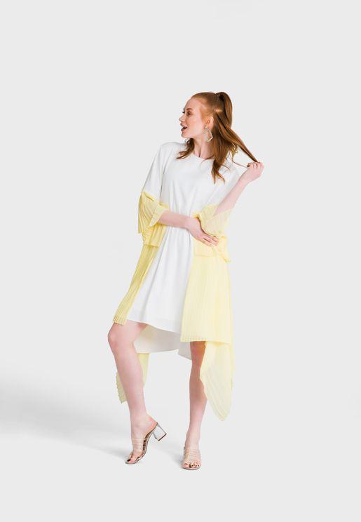 فستان بحافة متبيانة الطول
