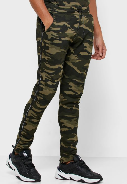 Camo Logo Tape Sweatpants