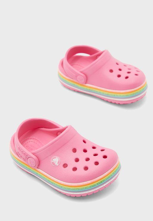 Kids Rainbow Glitter Clog Sandal