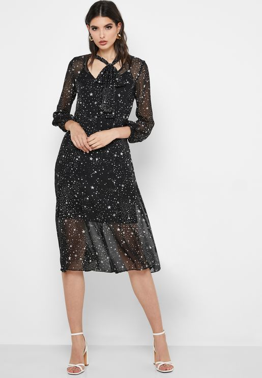 Tie Neck Front Split Star Print Dress