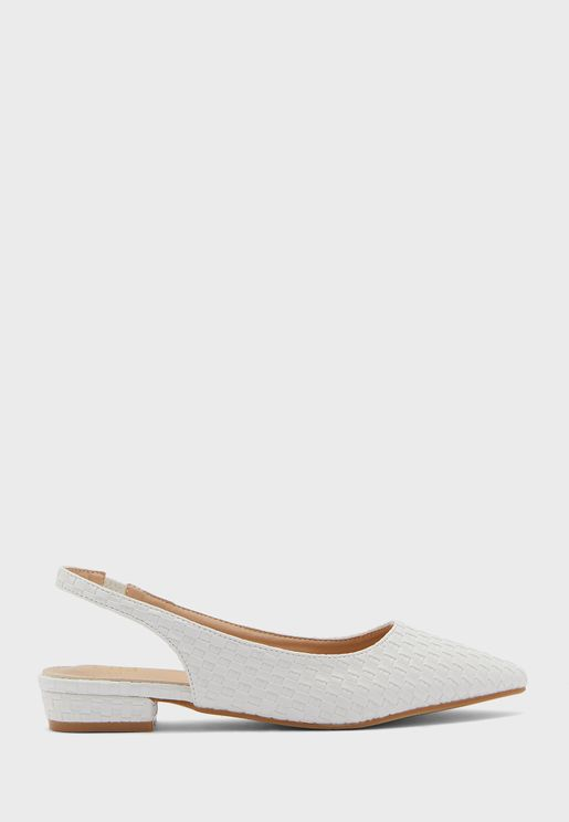 Lattice Effect Pointed Slingback Flat Shoes