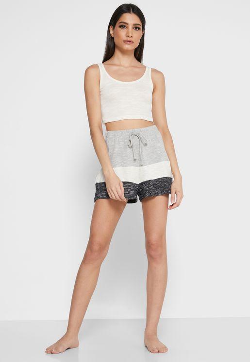Scoop Neck Crop Top & Colorblock Shorts Set