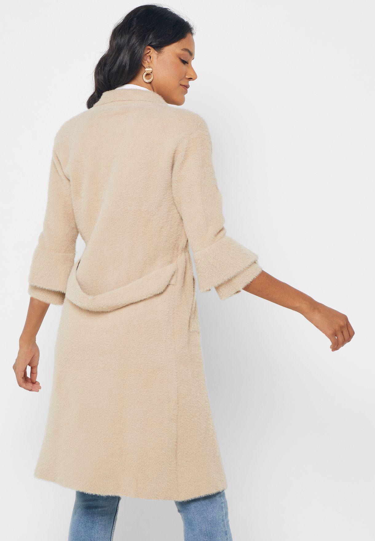 Faux Fur Longline Jacket